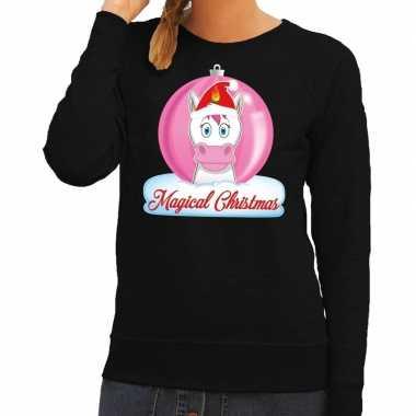 Foute kersttrui eenhoorn magical christmas zwarte dames trui