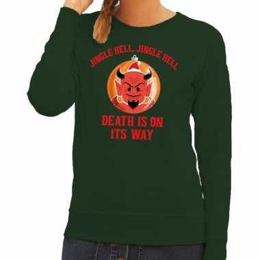 Foute kersttrui groen jingle hell dames