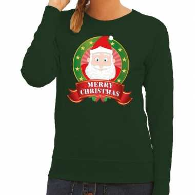 Foute kersttrui groen kerstman merry christmas dames