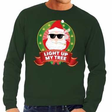 Foute kersttrui groen light up my tree heren