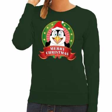 Foute kersttrui groen merry christmas pinguin dames