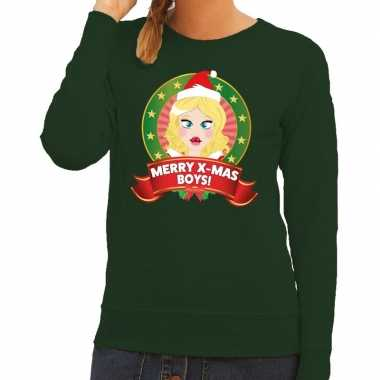 Foute kersttrui groen merry x mas boys dames