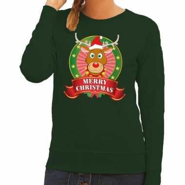 Foute kersttrui groen rudolph merry christmas dames