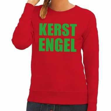 Foute kersttrui kerst engel rood dames