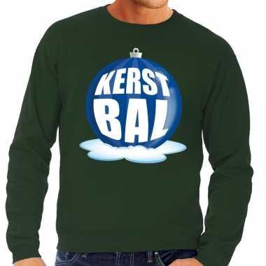 Foute kersttrui kerstbal blauw groene trui heren