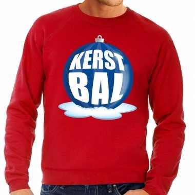 Foute kersttrui kerstbal blauw rode trui heren