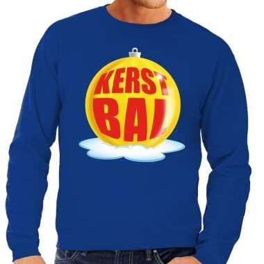 Foute kersttrui kerstbal geel blauwe trui heren