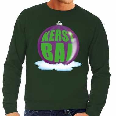 Foute kersttrui kerstbal paars groene trui heren
