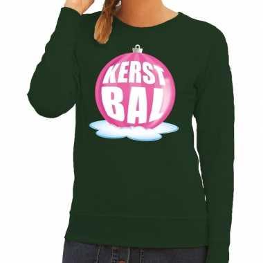 Foute kersttrui kerstbal roze groene trui dames