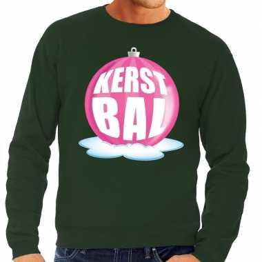 Foute kersttrui kerstbal roze groene trui heren