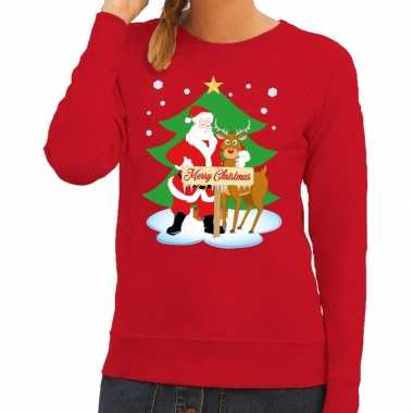 Foute kersttrui kerstman rendier rudolf rood dames