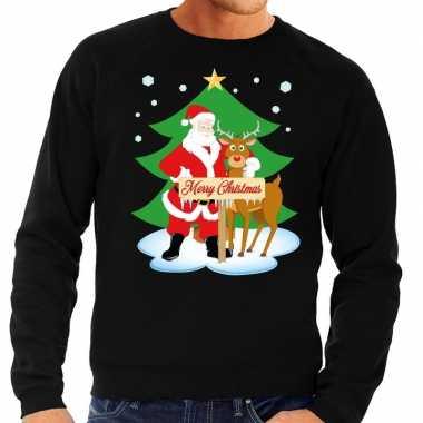 Foute kersttrui kerstman rendier rudolf zwart heren
