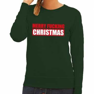 Foute kersttrui merry fucking christmas groen dames