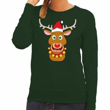 Foute kersttrui rendier rudolf rode kerstmuts groen dames