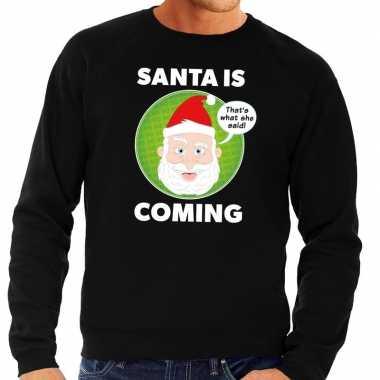 Foute kersttrui santa is coming zwart heren