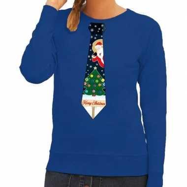 Foute kersttrui stropdas kerst blauw dames