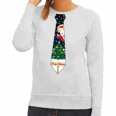 Foute kersttrui stropdas kerst grijs dames