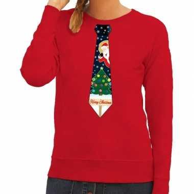 Foute kersttrui stropdas kerst rood dames