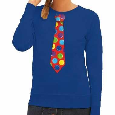 Foute kersttrui stropdas kerstballen blauw dames
