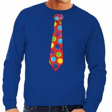 Foute kersttrui stropdas kerstballen blauw heren