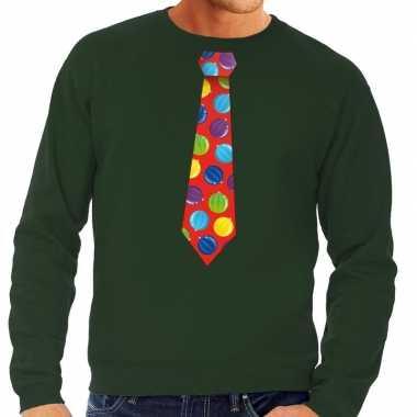 Foute kersttrui stropdas kerstballen groen heren