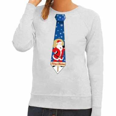 Foute kersttrui stropdas kerstman grijs dames