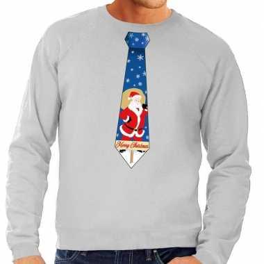 Foute kersttrui stropdas kerstman grijs heren