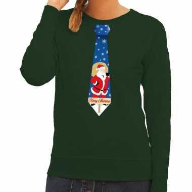 Foute kersttrui stropdas kerstman groen dames