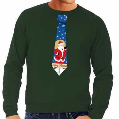 Foute kersttrui stropdas kerstman groen heren