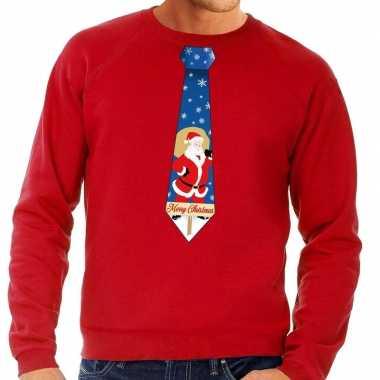 Foute kersttrui stropdas kerstman rood heren