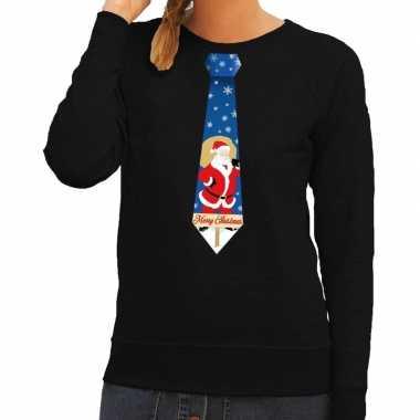 Foute kersttrui stropdas kerstman zwart dames