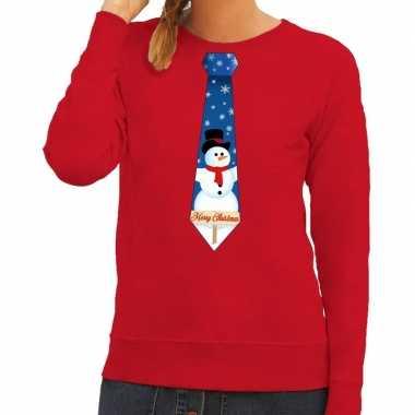 Foute kersttrui stropdas sneeuwpop rood dames