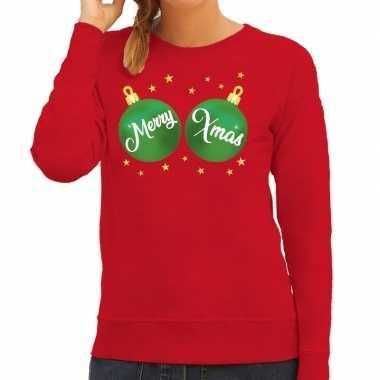 Foute kersttrui / trui rood merry xmas dames