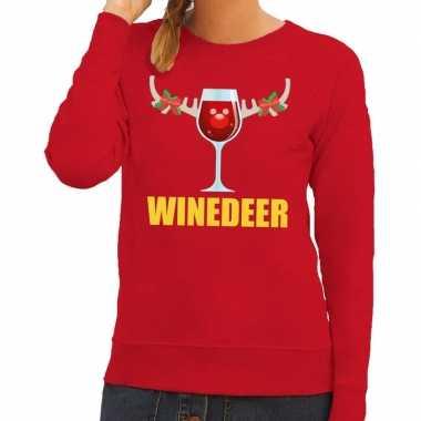 Foute kersttrui winedeer rood dames