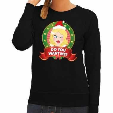 Foute kersttrui zwart do you want me dames