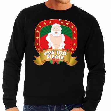 Foute kersttrui zwart hashtag me too please heren