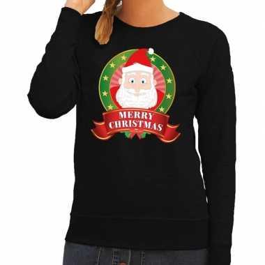 Foute kersttrui zwart kerstman merry christmas dames