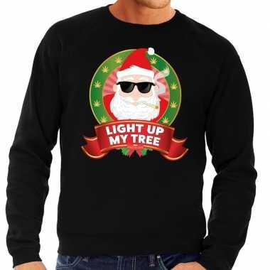 Foute kersttrui zwart light up my tree heren