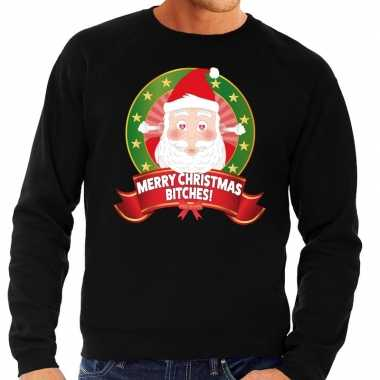 Foute kersttrui zwart merry christmas bitches heren