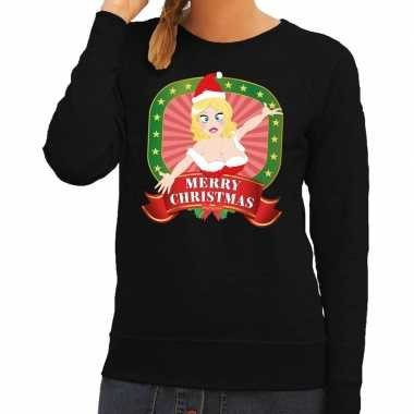 Foute kersttrui zwart merry christmas kerstvrouw dames