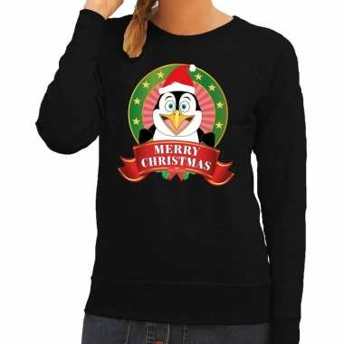 Foute kersttrui zwart merry christmas pinguin dames