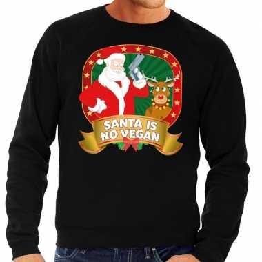 Foute kersttrui zwart santa is no vegan heren