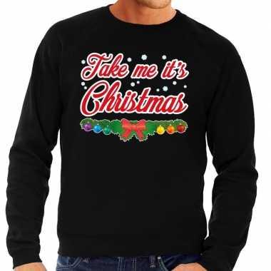 Foute kersttrui zwart take me its christmas heren