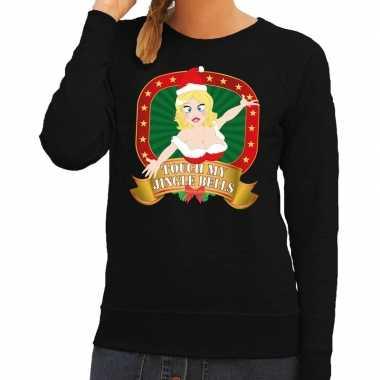 Foute kersttrui zwart touch my jingle bells dames