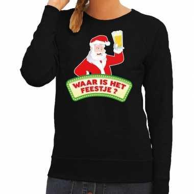 Foute kersttrui zwart waar is feestje dames