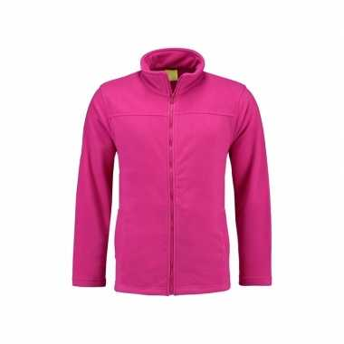 Fuchsia fleece trui rits dames