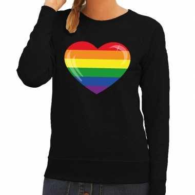 Gay pride regenboog hart trui zwart dames