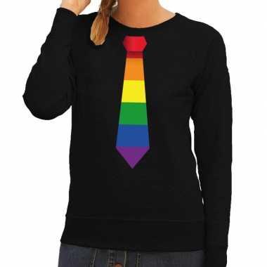 Gay pride regenboog stropdas trui zwart dames