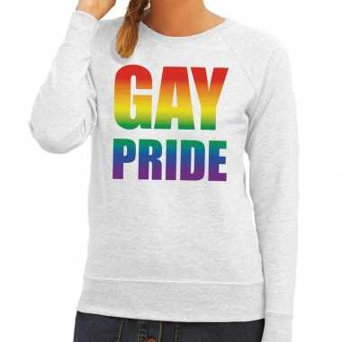 Gay pride regenboog tekst trui grijs dames