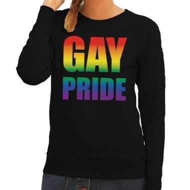 Gay pride regenboog tekst trui zwart dames